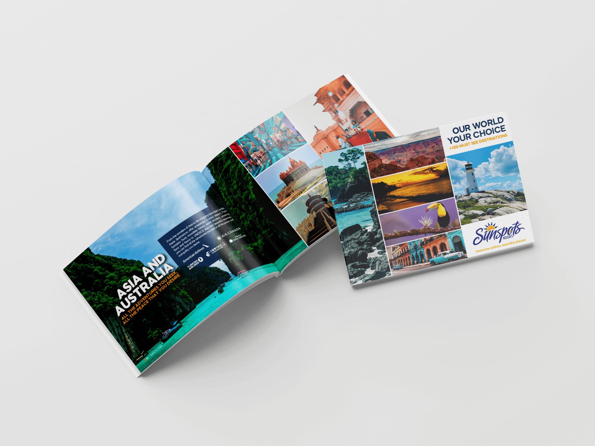 Criação de catálogo Sunspots Holidays - capa e miolo