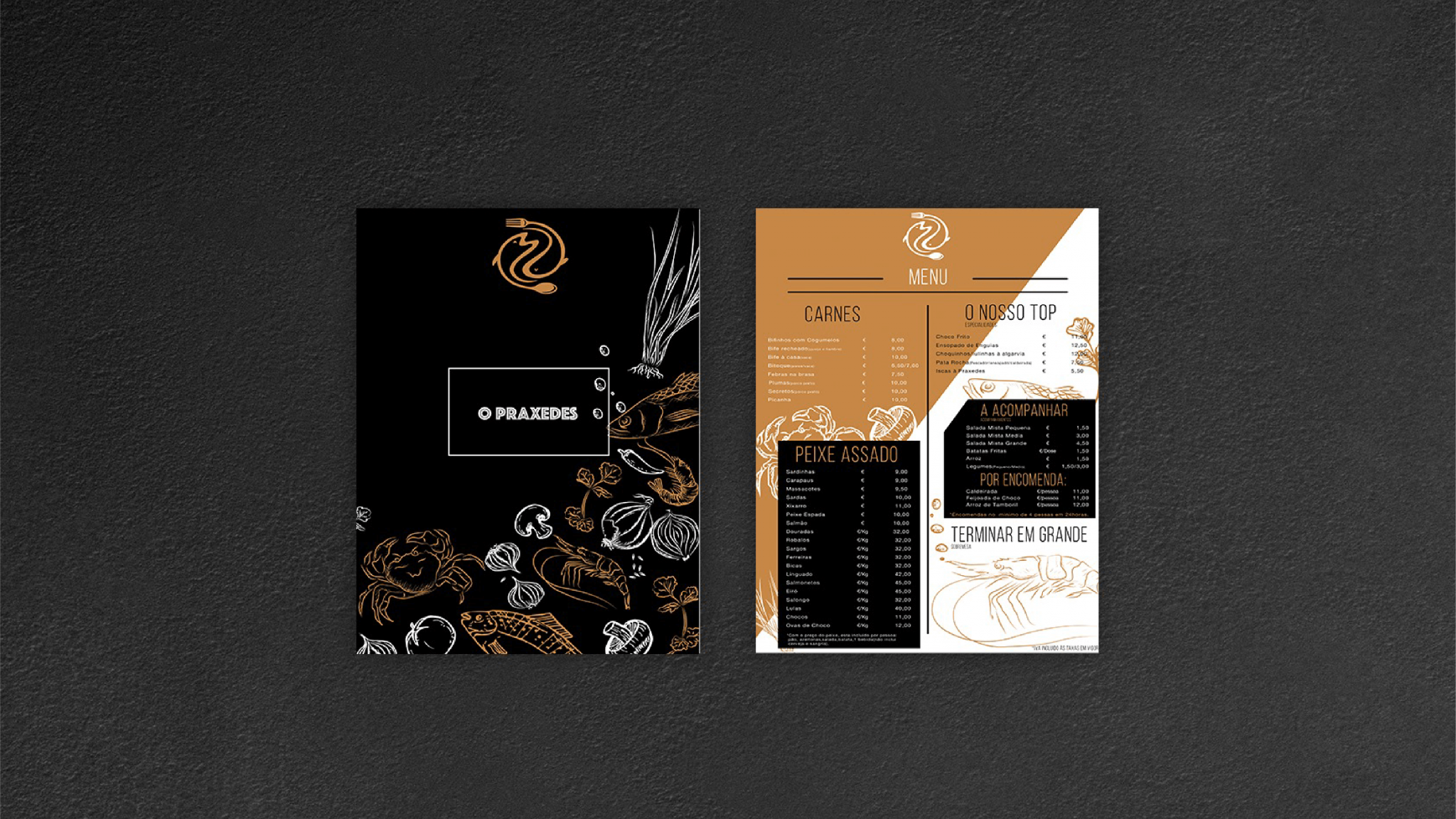 branding e design de comunicação Praxedes - menu
