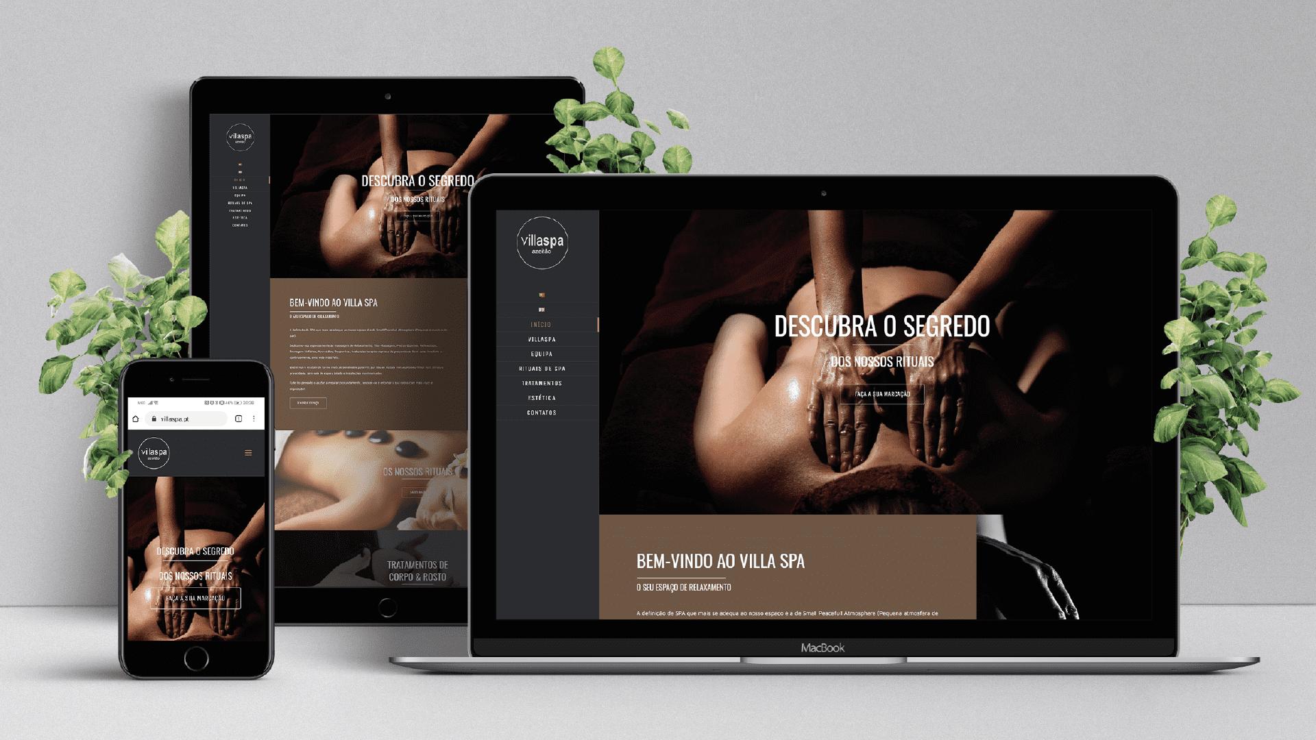 criação de website villaspa - desktop, tablet e smartphone