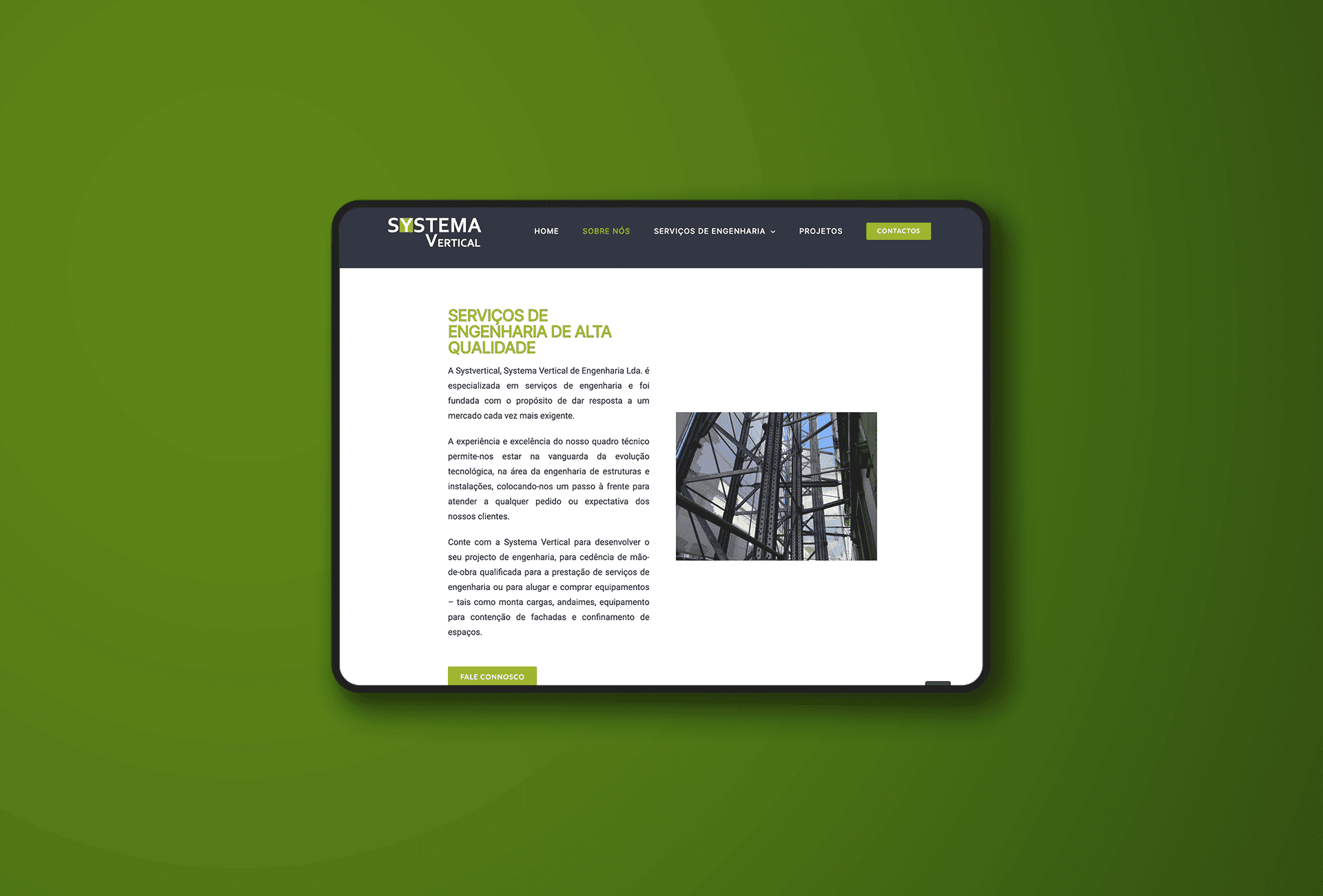 website systema vertical - tablet